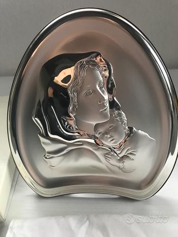 Icona argento Madonna con bambino