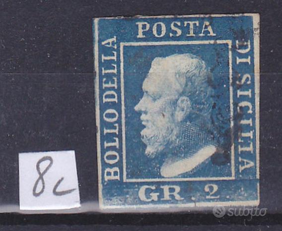 1859 sicilia 2 grana azzurro vivo usato firmato ad