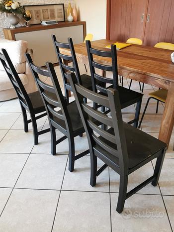 5 sedie nere in legno IKEA