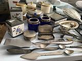 Oggetti antichi in argento ,peltro,ecc