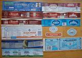Etichette di acqua acque minerali, italiane ed est