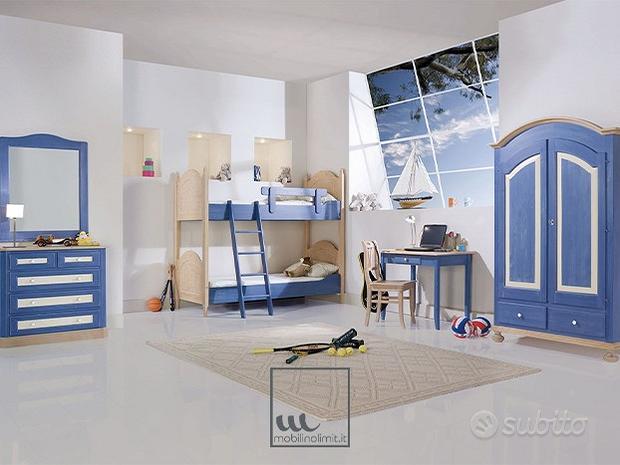 Cameretta in legno azzurra con letto a castello