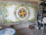Tavolo maioliche dipinte a mano decorazione vietre