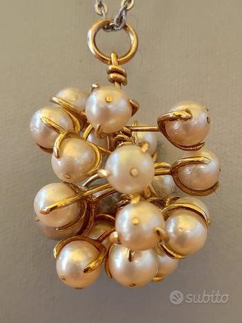 Pendente x collana in vere perle rosa e oro giallo