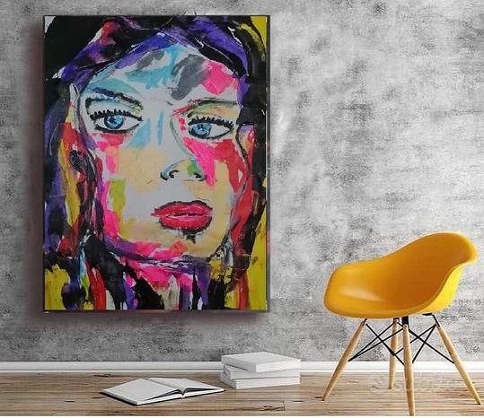 Dipinto su tela pop quadro astratto moderno donna