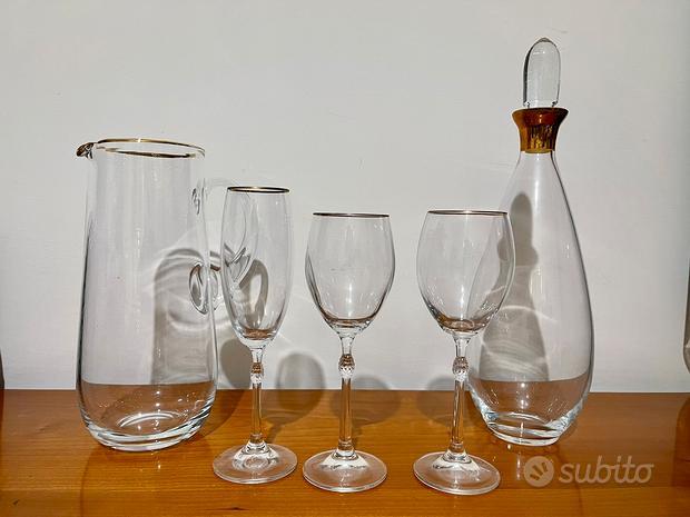 Servizio bicchieri in cristallo con bordino oro