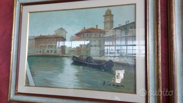 Trittico quadri vecchia Milano cornice in legno