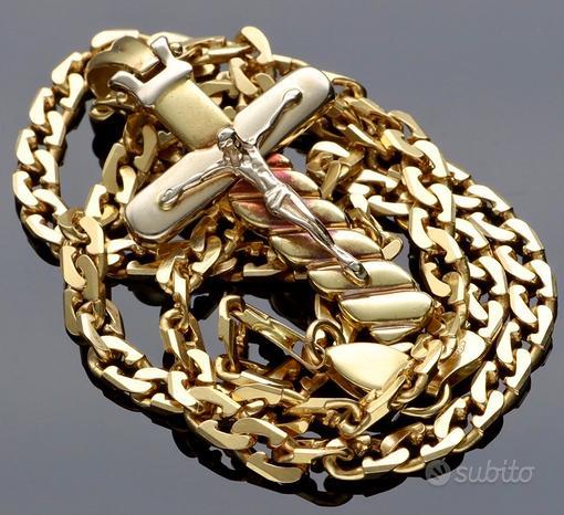 Collana da uomo con cristo in oro 18 kt