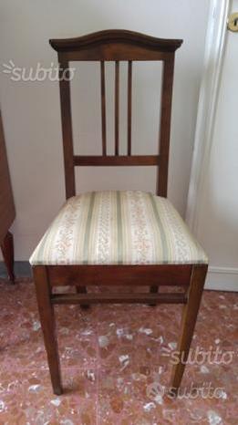 Tavolo ciliegio e 5 sedie legno seduta stoffa