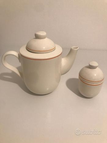 Set da the Teiera e zuccheriera in ceramica bianca