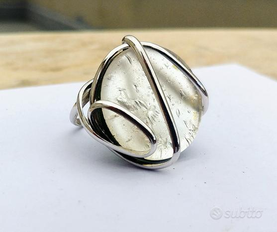 Anello pietra simil madreperla argento 925
