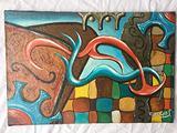 Dipinto olio su tela arte astratta colorato