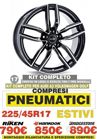 Cerchi In Lega Volkswagen Golf 6 7 A3 17 Con Gomme