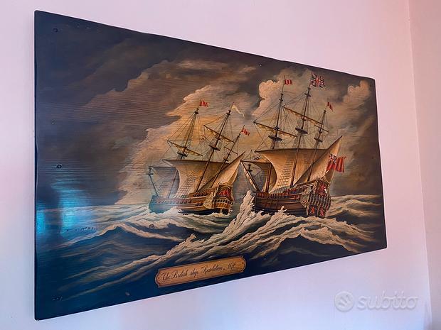 Quadro Dipinto su Legno R.simonetto Navi Inglesi