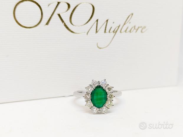 Anello da Donna con Giada 1,07ct e Diamanti 0,70ct