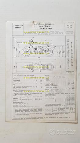 Benelli 354 SPORT 1978 certificato omologazione