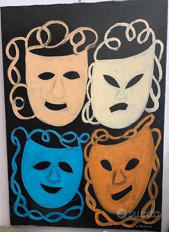 Dipinto olio su tela di Elirio Picchio (maschere)